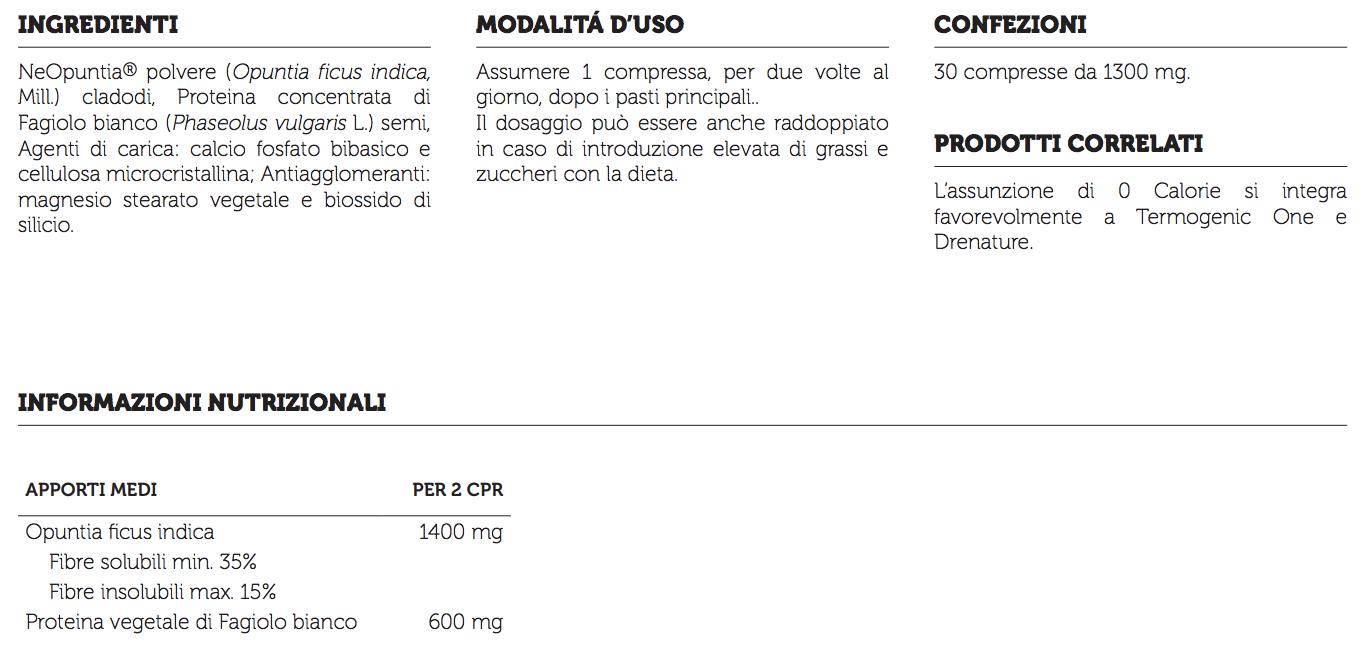 Informazioni nutrizionali 0 calorie syform