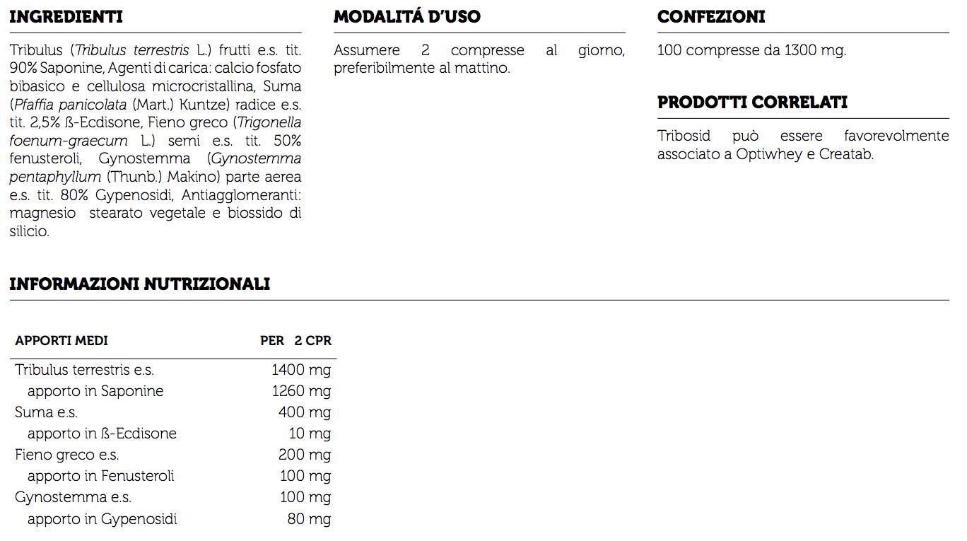 Informazioni nutrizionali Tribosid syform