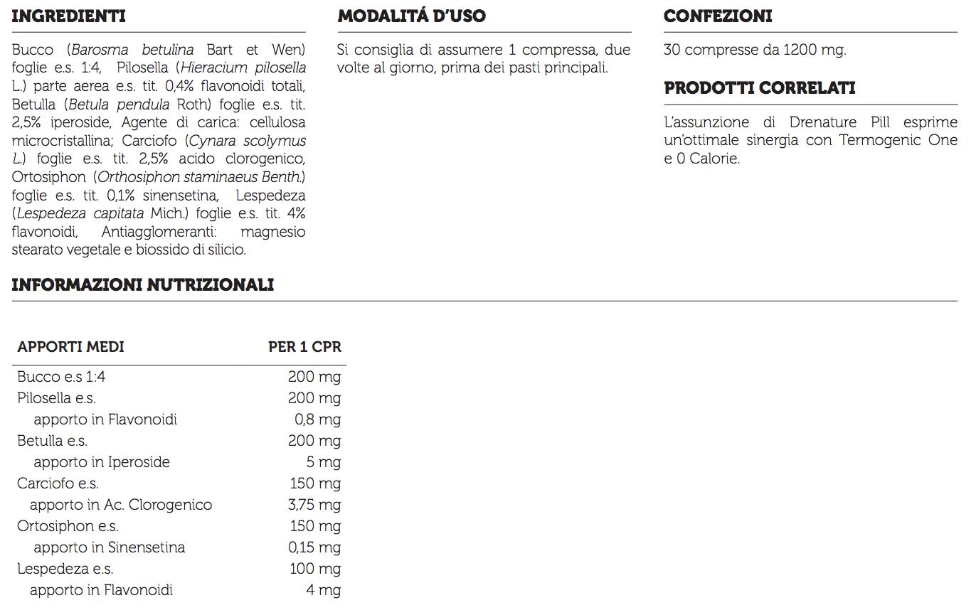 Informazioni nutrizionali drenature pill