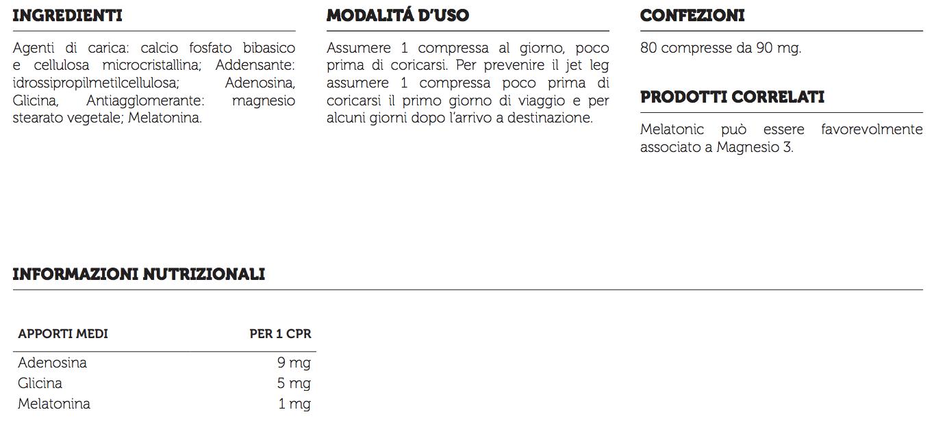 informazioni nutrizionali melatonic syform