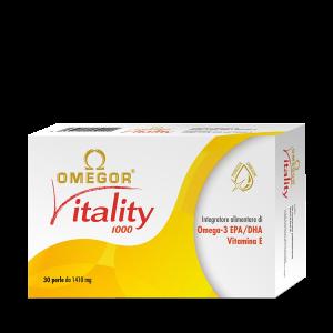 Integratori di Omega 3 OMEGOR VITALITY 1000 è un integratore alimentare di acidi grassi omega 3 ad elevata concentrazione di principi attivi EPA e DHA.