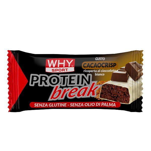 Protein Break Bar Why Sport 30 grammi è una barretta proteica con zuccheri ed edulcoranti. Senza glutine. Disponibile nei gusti: Biancociok, Cocco, Nocciola e Pistacchio.